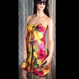 Cache Silk Strapless Yellow Floral Mini Dress 4